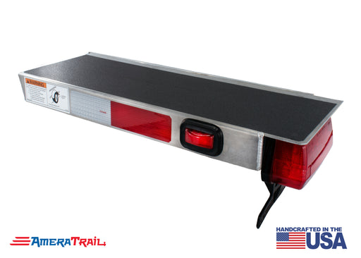"Classic Rear 22"" / 28"" PORT Side I Beam Trailer Step , Secures Fender, Includes Non Skid  Reflective Tape, and Led Light"