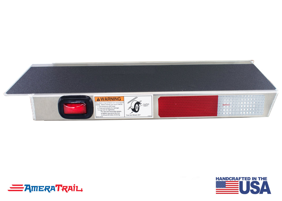 "Classic Rear 22"" / 28"" STARBOARD Side I Beam Trailer Step , Secures Fender, Includes Non Skid  Reflective Tape, and Led Light"