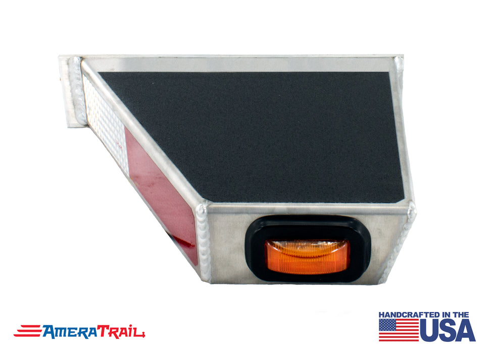 Classic Front PORT Side I Beam Trailer Step , Secures Fender , Includes Non Skid  Reflective Tape, and Led Light