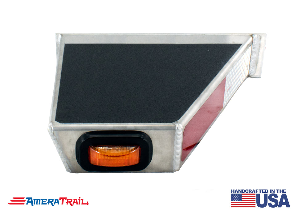 Classic Front STARBOARD Side I Beam Trailer Step , Secures Fender , Includes Non Skid  Reflective Tape, and Led Light