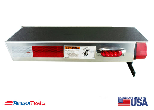 "Deluxe Rear 22"" / 28"" PORT Side Channel Trailer Step , Secures Fender, Includes Non Skid  Reflective Tape, and Led Light"