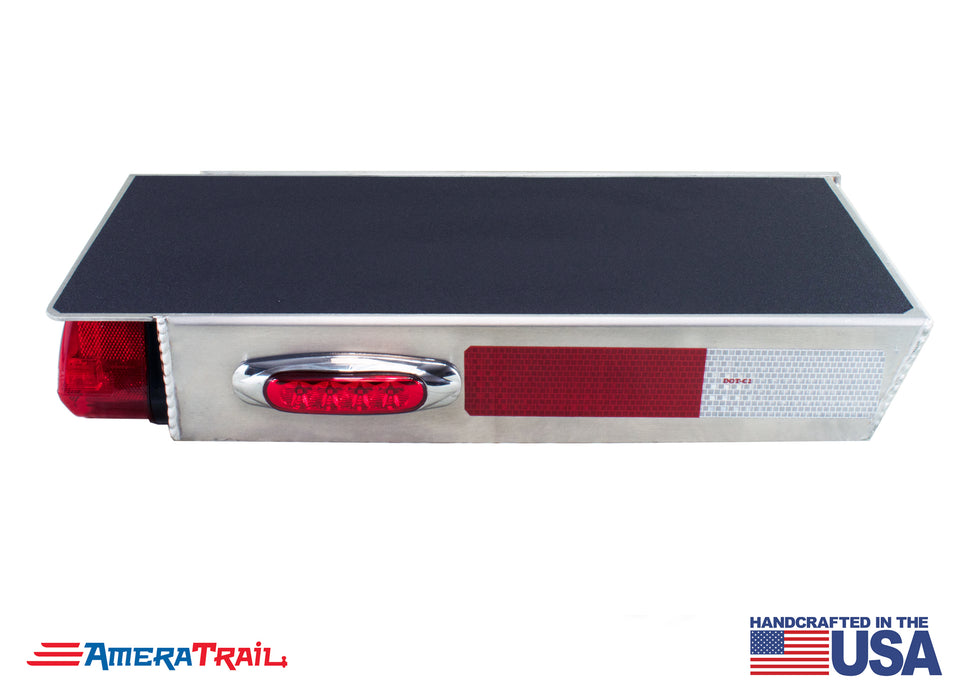 "Deluxe Rear 22"" / 28"" STARBOARD Side Channel Trailer Step , Secures Fender, Includes Non Skid  Reflective Tape, and Led Light"