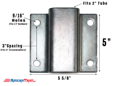 "Heavy Duty Hat Bracket, Fits 3"" Crossmembers - Hot Dipped Galvanized Finish"