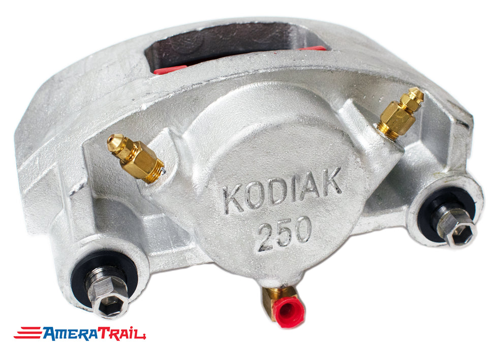 Kodiak 250 Dacromet Caliper, Fits 7000 - 8000 lbs Axles - Includes 1 Set of Pads & Guide Bolts
