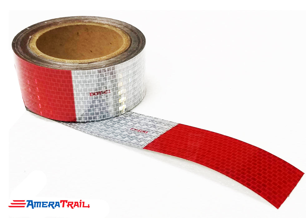 Reflective Tape DOT-C2 Ultra Bright Red & White, Sold by the Foot - Cut to Desired Length