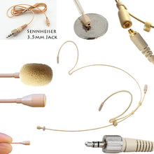 Beige Double Ear Hook Microphone for Lectrosonic Wireless Radio Body Pack Transmitter