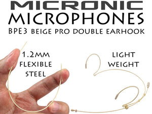 Beige Double Ear Hook Microphone for Countryman DPA MicroDot Wireless Radio Body Pack Transmitter