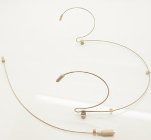 BPE3 BEIGE DUAL DOUBLE EAR HOOK 3mm OMNIDIRECTIONAL MICROPHONE ULTRA LIGHT WEIGHT STEEL FRAME & DETACHABLE CABLE LEAD