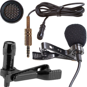 3.5mm Gold TRRS Jack Professional Cardioid Lapel Microphone 1m-30m cable