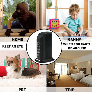 4K UHD Wireless Wi-Fi Video Spy Camera Recorder in 5x USB Tower Charger Station