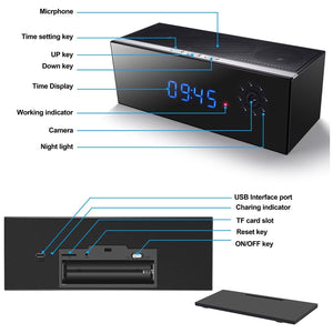 Covert Hidden Wireless Wi-Fi 1080p Full HD Spy Camera Video Recorder in Bluetooth Speaker Clock