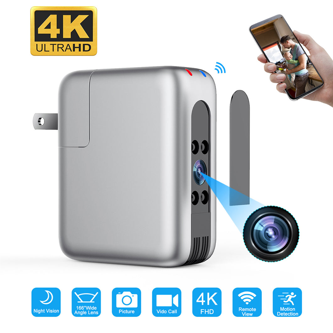 4K UHD Wireless Wi-Fi Hidden Spy Video Night Vision Camera Recorder in USB Phone Charger