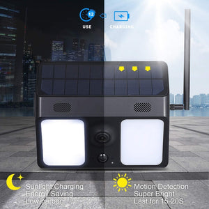 Solar Power 1080P Video IP CCTV Garden LED PIR Motion Alarm Battery Wireless Security Camera