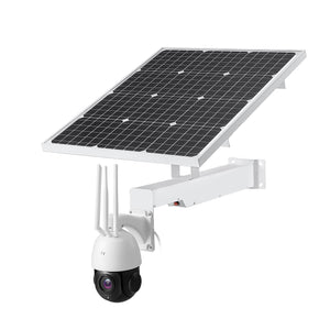 4G LTE Wireless Wifi Solar Powered PTZ Dome 5MP CCTV Camera 30x Optical Zoom 100m Night Vision