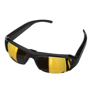 Full HD 1080p Hidden Spy Camera DVR Sunglasses in Gold, Video Recorder Glasses