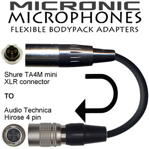 Shure WBH & WL 4 pin mini XLR TA4F Microphone Adapter for Wireless Radio Body Pack Transmitters and Sound Recorders