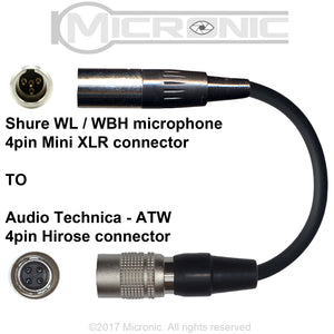 AUDIO TECHNICA UNIPAK TRANSMITTER 4 PIN HIROSE MICROPHONE ADAPTER CONVERTER
