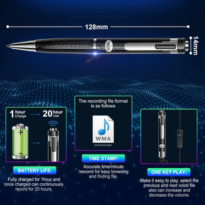 Hidden Covert Digital Voice Recorder Sound Activated Ballpoint Pen 8GB/16GB/32G