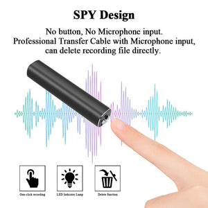 Magnetic Spy Audio 600+ Hours Battery Life Voice Activated Sound Recorder Premium Quality 192kbps .WAV
