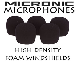 5x FOAM WINDSHIELD TO FIT 6mm - 9mm DIAMETER LAVALIER LAPEL CLIP ON MICROPHONES