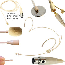 Beige Double Ear Hook Microphone for Shure Radio Body Pack Transmitter