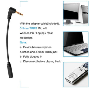 Dual-Head TRRS TRS Tie Clip Microphone For Smartphone & PC