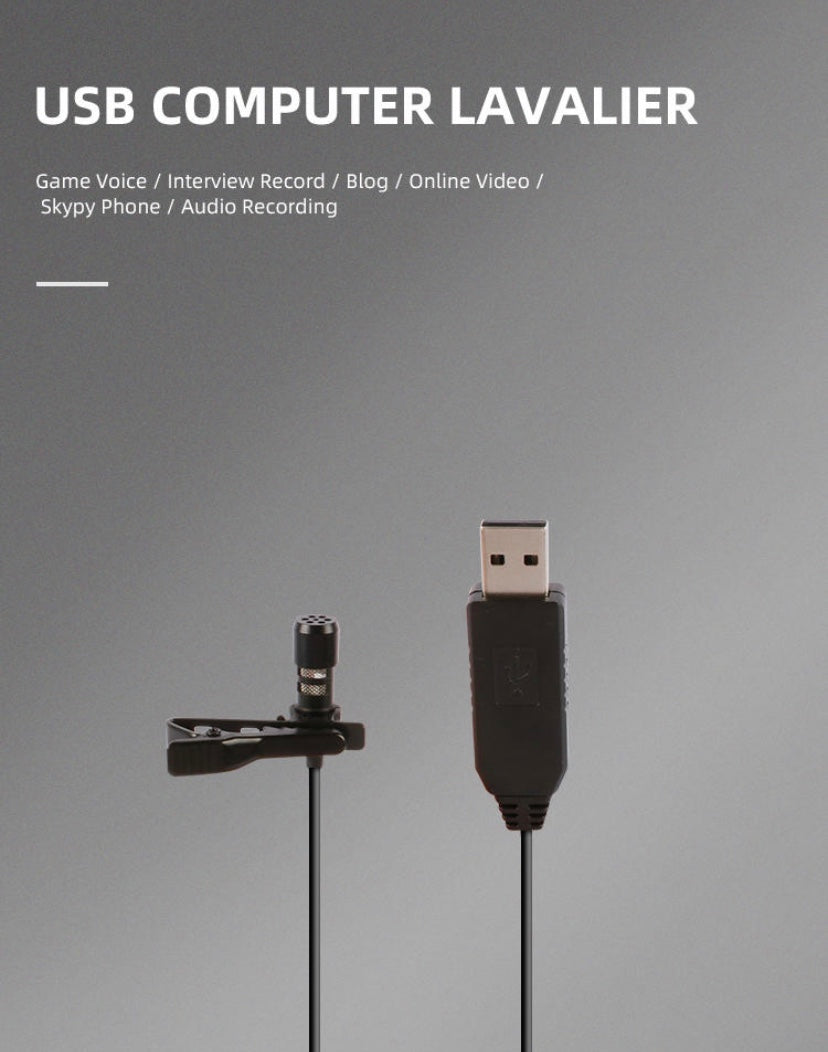 USB 2.0 (Type A) Lavalier Clip On Microphone For PC, Laptop and MacBook