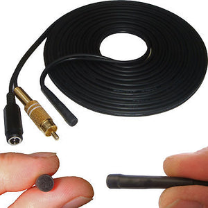 50 Metre Cable Length CCTV microphone RCA Female Phono Audio Output, 2.1mm DC socket