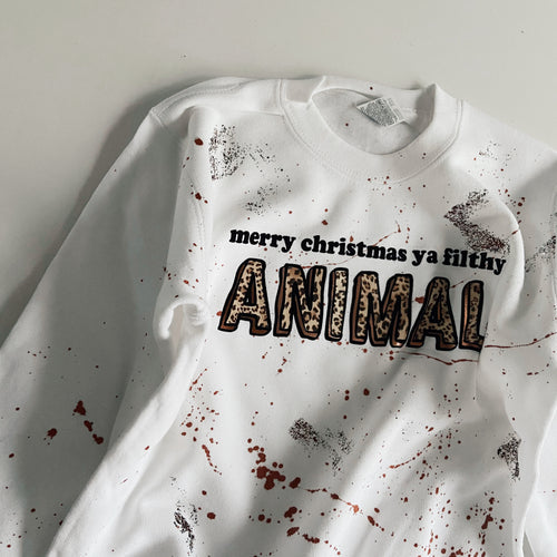 kids FILTHY ANIMAL sweatshirt / WHITE / LEOPARD
