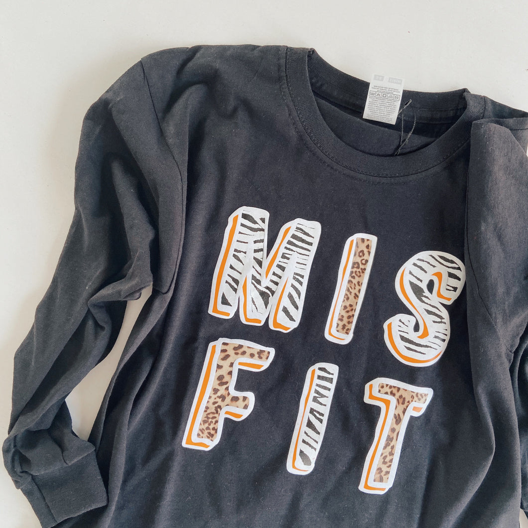 kids MISFIT long sleeved tee / BLACK / MIX ANIMAL / FIRE YELLOW