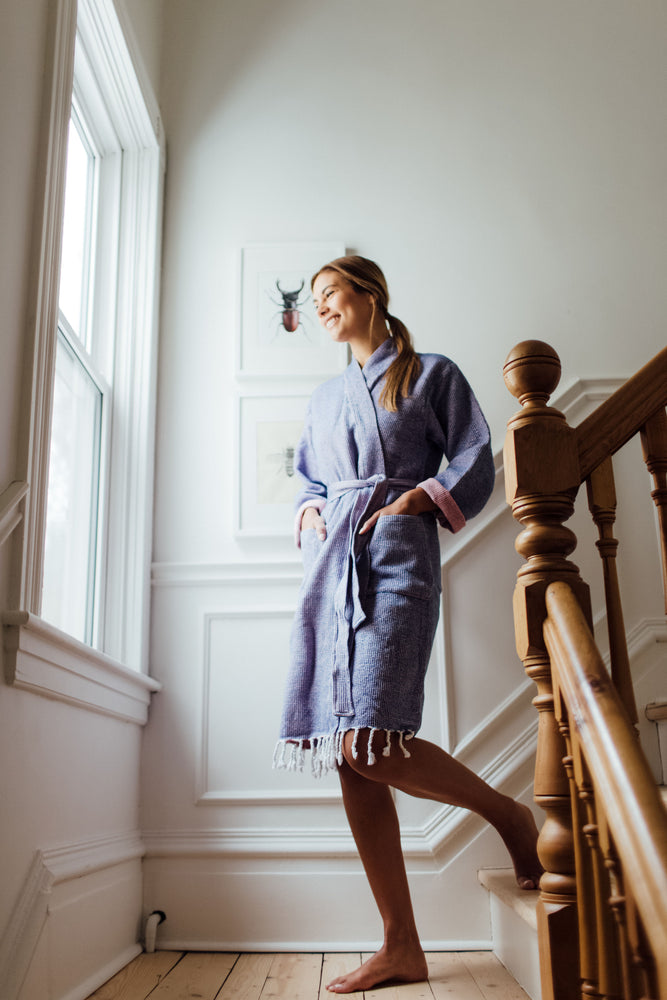The Sherbet Bathrobe in Bright Indigo