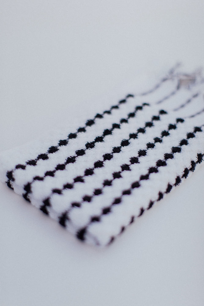 black and white cotton hand towel