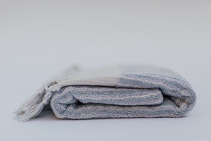 soft blue organic cotton plush turkish bath towel