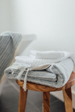 soft blue organic cotton turkish bath towel