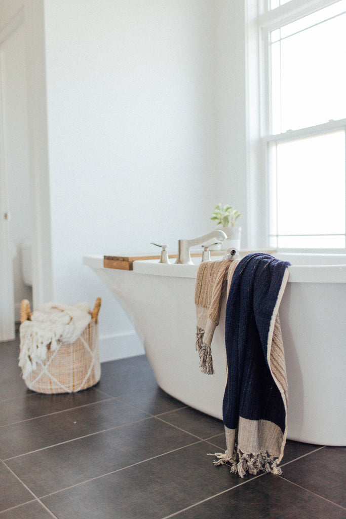 Navy & Taupe Bath Towel