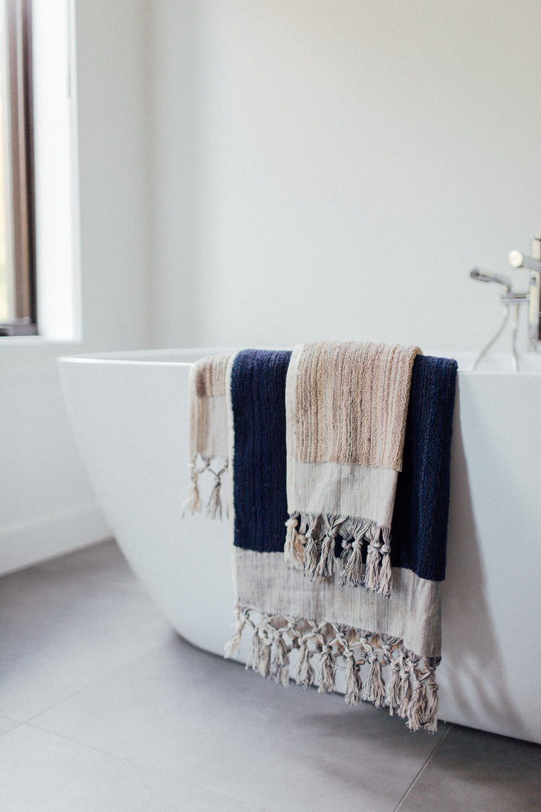 Navy & Taupe Hand Towel