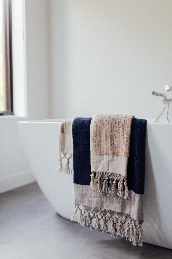 Navy & Taupe Bath Set