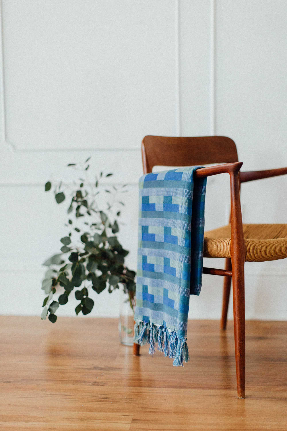 Azure Blue Cotton Throw Blanket