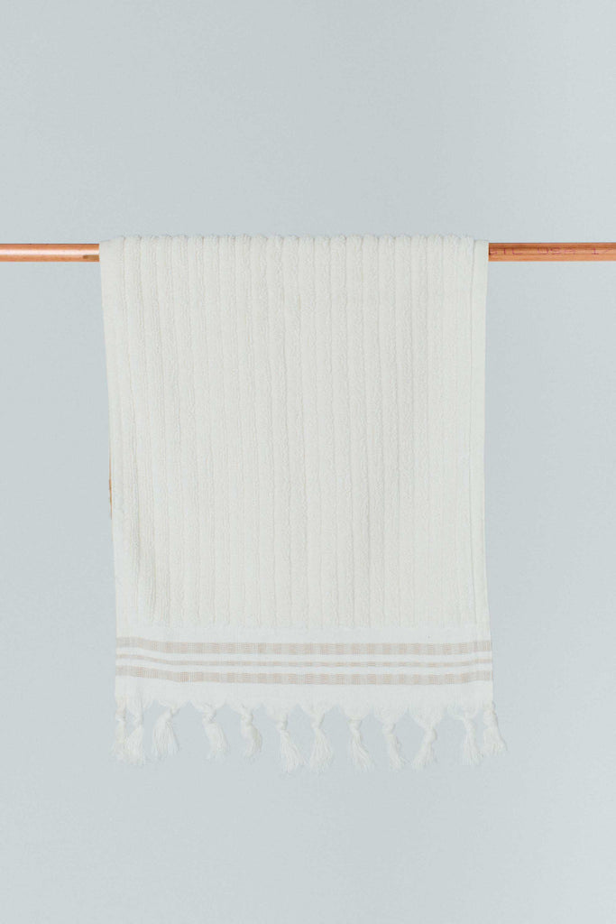 Ecru Texture Stripe Cotton Hand Towel