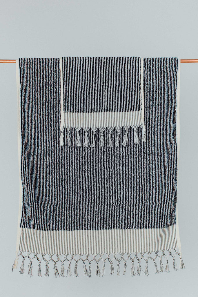 Black & White Stripe Hand Towel