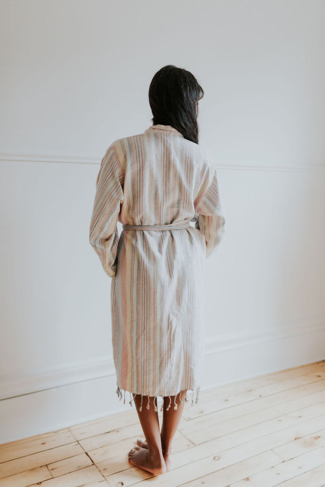 The Soft Stripe Bathrobe in Pastel