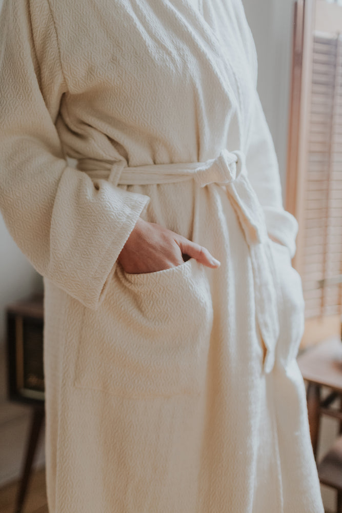 creamy white luxury bathrobe