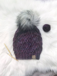 The Luxe Adira Beanie in Lotus with a Husky Pom