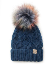 Load image into Gallery viewer, The Fold Up Hexa Beanie in Huckleberry with  Autumn Horizon Pom