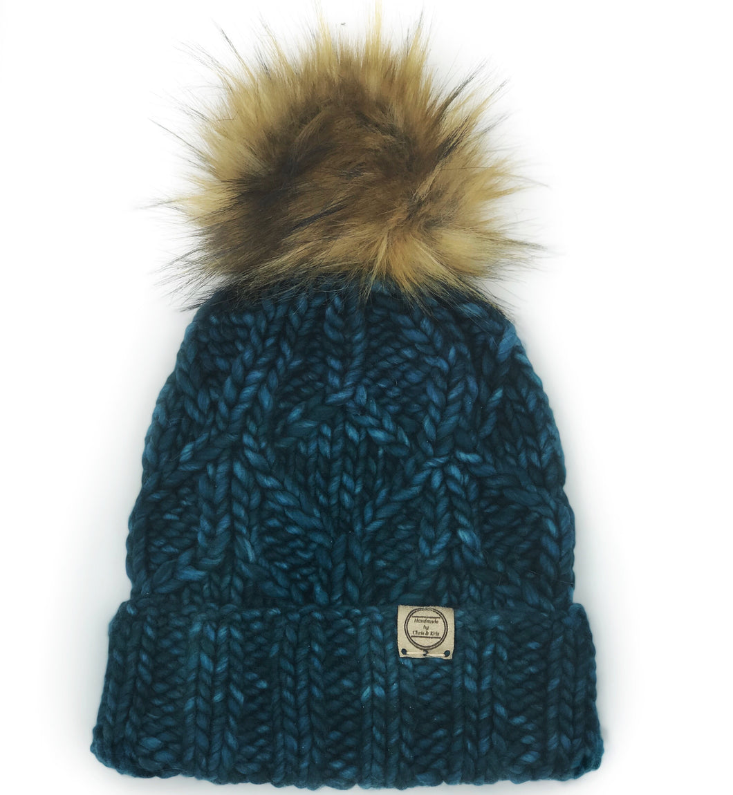 The Luxe Super Bulky Fold Up Hexa Beanie - Teal Feather