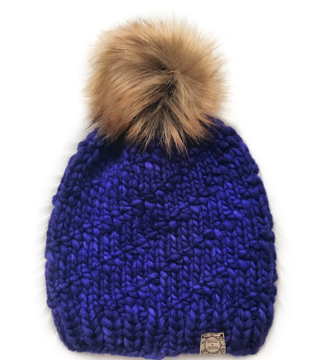 The Luxe Madelyn Toque in Purple Mystery with Kodiak Pom
