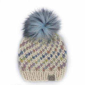 The Swirl Beanie in Fisherman with Dreamcatcher Swirl and Glacier Pom - Toddler