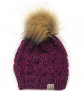 The Luxe Hexa Beanie in Wine with  Cinnamon Pom