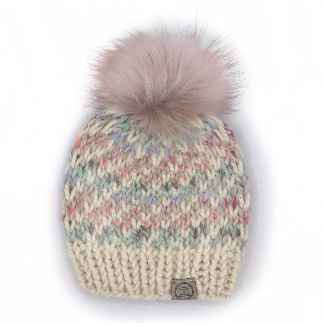 The Swirl Beanie in Carousel with Cream Swirl and Blossom Pom - Toddler
