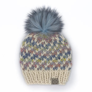 The Swirl Beanie in Dreamcatcher with Fisherman Swirl and Glacier Pom - Toddler